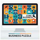 Core values Set of business icons Flat design vector illustration concept