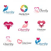 Set of vector logos for charity and care Logo for the orphanage elderly care