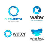 Set of vector logos Sign for cleaning pipes and sewage systems water filters Clean water