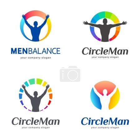 Illustration pour Ensemble de logos vectoriels. Équilibre des hommes, équilibre du corps. Modèle vectoriel - image libre de droit