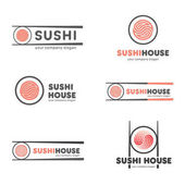 Set of vector logos for sushi Logo design for restaurants of Japanese food