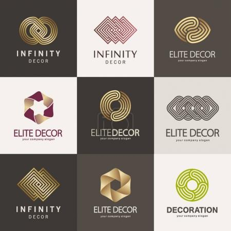 A collection of logos for interior, furniture shops, decor items and home decoration.