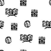 Seamless vector pattern with elements of Perm animal style