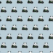 Cartoon fun vector illustration seamless animals pattern with baby panda bamboo background Black and white bear