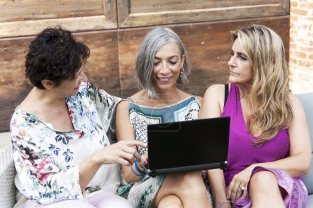 beautiful ladies smile looking at something on the laptop