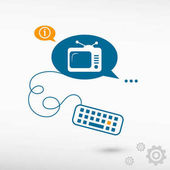 Televise and keyboard on chat speech bubbles