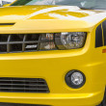 Постер, плакат: Yellow Chevrolet Camaro SS convertible front side details