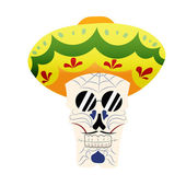 Hand-painted skull hat Mexican death mask in sambrero day of the dead