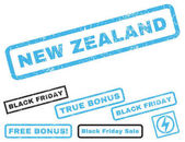 New Zealand rubber seal stamp watermark with bonus banners for Black Friday offers Vector blue and gray emblems Text inside rectangular shape with grunge design and unclean texture