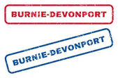 Burnie-Devonport text rubber seal stamp watermarks Vector style is blue and red ink tag inside rounded rectangular banner Grunge design and dirty texture Blue and red stickers
