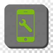 Smartphone Options Wrench toolbar icon Vector pictograph style is a flat symbol in a rounded square button light green and gray colors