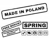 Made In Poland text rubber seal stamp watermark with Valentines sale bonus Captions inside rectangular banner with grunge design and dust texture