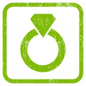 Diamond Ring rubber watermark Vector icon symbol inside rounded rectangle with grunge design and dust texture Stamp seal illustration Unclean light green ink sign on a white background