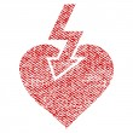 Heart Shock Strike vector textured icon for overla...