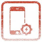 Smartphone Power Options Gear textured icon for overlay watermark stamps Red vectorized texture Flat red vector symbol with unclean design inside rounded square frame