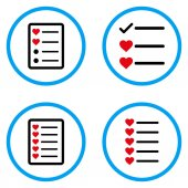 Favourites List rounded icons Vector illustration style is a flat iconic symbols inside blue circles Designed for web and software interfaces