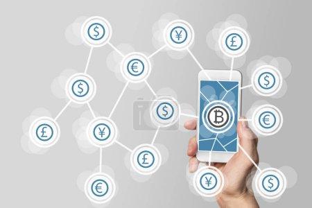 Photo pour Blockchain et technologie Bitcoin comme exemple pour crypto-monnaie - image libre de droit