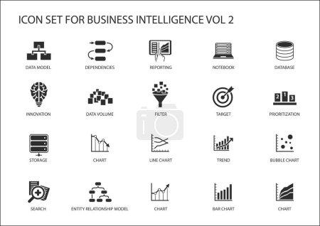Illustration pour Ensemble d'icônes vectorielles Business Intelligence (BI) - image libre de droit