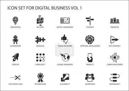 Digital business vector icon set