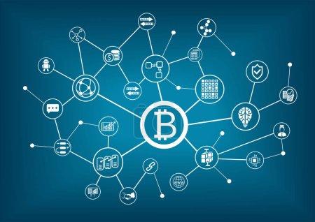 Bitcoin vector illustration with dark blue background