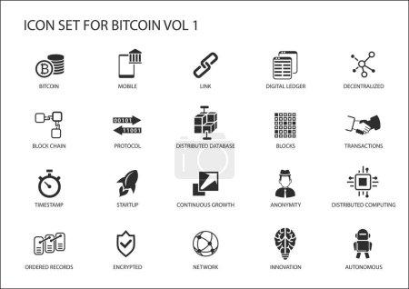 Bitcoin vector icon set...