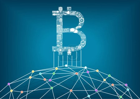 Bitcoin vector illustration background with connected internet as an example for crypto currencies and block chain technology