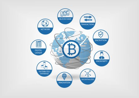 Bitcoin and crypto currency vector illustration