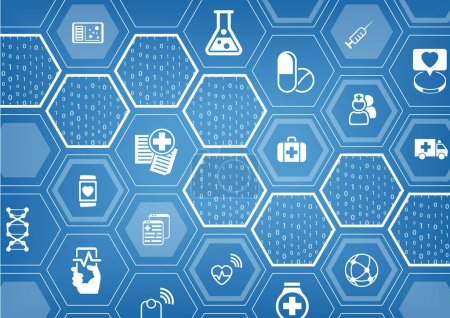 Illustration for Electronic e-healthcare blue vector background with hexagonal shapes - Royalty Free Image
