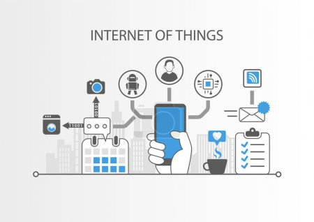 Internet of things IOT concept with simple icons on grey background