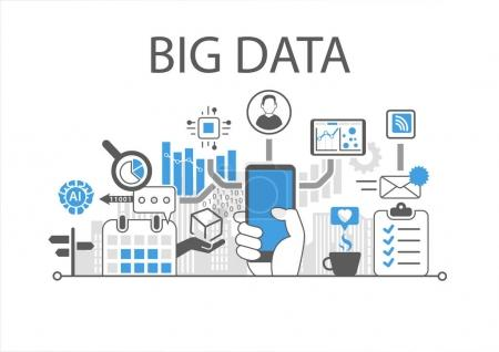 Illustration for Big data infographic vector illustration with hand holding smartphone - Royalty Free Image