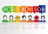 Robo-advisor concept as vector illustration with colorful icons of robots and persons