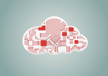 Illustration for Cloud computing as example for digitilization - vector illustration of cloud with computer processor - Royalty Free Image