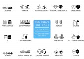 Pixel perfect thin line icons and symbols of various industries / business sectors like public services consumer goods defence life sciences high-tech resources IT logistics