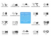 Pixel perfect thin line icons and symbols for machine learning / deep learning / artificial intelligence