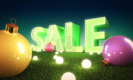 Christmas sale poster with balls and lights