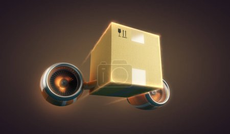 Express delivery of package, 3d illustration