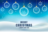 Vánoční pozadí, blahopřání. Vánoční koule s černou