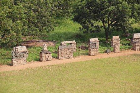 Hampi, Karnataka, India - October 20, 2017: Ruins near the temple Mahanavami Dibba - The Great Platform UNESCO World heritage site.