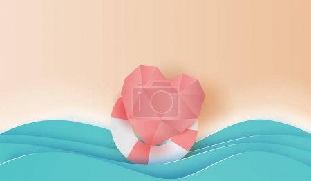 Illustration for 3D paper art and craft style of illustration on top view heart love in swim ring summer beach,summer time place your text space background,Creative design take care for healthy life concept vector - Royalty Free Image
