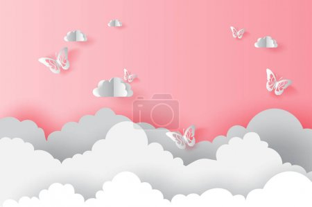 Illustration for Illustration Paper art cloud with butterflies on pink valentine concept.Butterfly flying in the sky.Creative design paper cut and craft style Origami  cloudy and sky for landscape.pastel color.vector - Royalty Free Image
