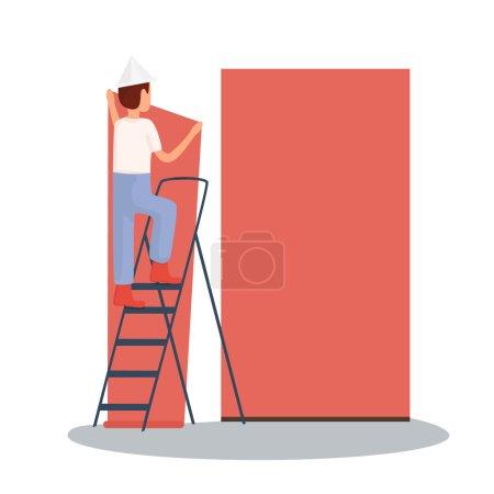 man glueing wallpapers