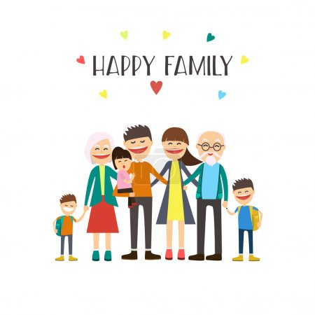 Cartoon happy family