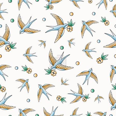 Old school tattoo swallows pattern