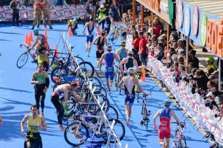 Portugal, Europe - APRIL 2 - 3, 2016: Algarve Quarteira ETU Triathlon European Cup, sunny outdoor background