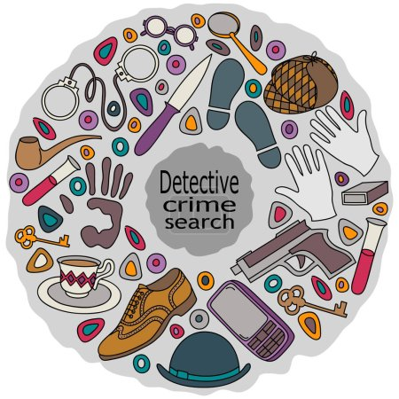 Cartoon cute doodles hand drawn Detective and criminal vector illustration.