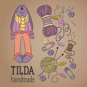 Colorful vector hand drawn set of object Hand Made Tilde doll hare cartoon doodle
