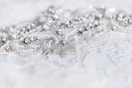 Beautiful details of a wedding dress