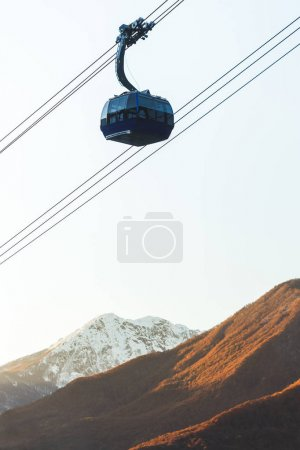 Modern cableway in mountains