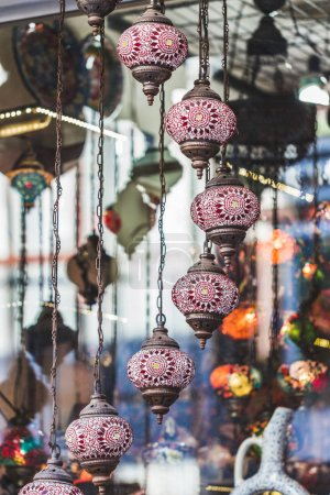Beautiful traditional handmade turkish lamps in souvenir shop. M
