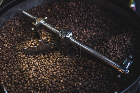 Photo for Process of roasting and mixing coffee. Coffee beans In the roaster - Royalty Free Image